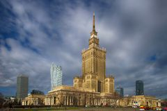 Panorama of Warsaw with Palace of Culture and Science stock image