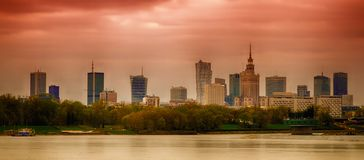 Panorama of Warsaw. With modern skyscrapers and Palace of Culture and Science made on the Vistula River Royalty Free Stock Photography