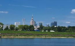 Panorama of Warsaw stock images