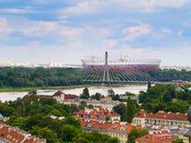 Panorama of Warsaw, Poland. Panorama of Warsaw in Poland, with National Stadium royalty free stock image