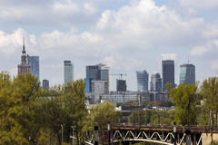 Panorama of Warsaw in Poland. Palace of culture Stock Image