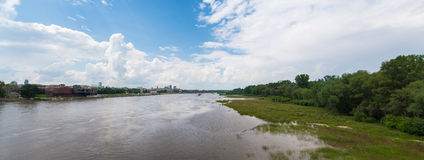 Panorama of Warsaw, Poland. Wide panoramic photo of Wisła river in Warsaw, Poland Royalty Free Stock Photo