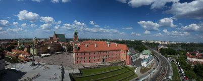 Panorama of Warsaw with the Royal Castle royalty free stock image
