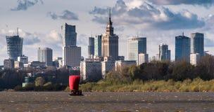 Panorama of Warsaw. Panorama of Warsaw from the Siekierkowski bridge, barge sailing on the Vistula, October 2017, Warsawa, Poland Royalty Free Stock Image