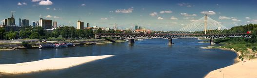 Panorama of Warsaw with Srednicowy bridge stock images