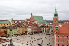 Panorama of Warsaw, tilt shift effect stock photography