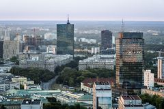Panorama of Warszawa city during sundown royalty free stock photography