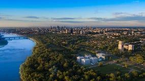 Panorama Warszawa od above zdjęcie stock