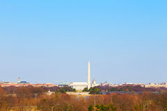 Panorama of Washington DC with its major tourist attractions. Royalty Free Stock Image
