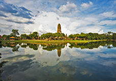 Panorama of Wat Phra Ram temple complex Stock Photography