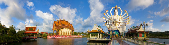 Panorama of wat plai laem Royalty Free Stock Image