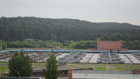 Panorama of water cleaning facility buildings and equipment stock video footage