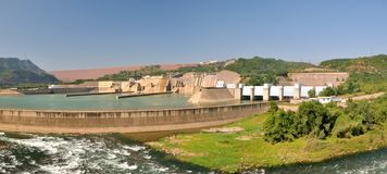 Panorama of water electricity plant and dam Stock Photos