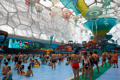 Panorama of water park, summer time Stock Images
