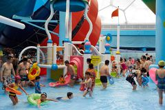 Panorama  of water park, summer time Royalty Free Stock Image