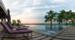 Panorama water pool on rooftop view with nature background stock photography