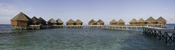 Panorama of water villas, Mirihi, Maldives Stock Photo