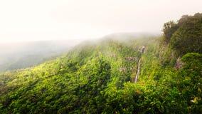 Panorama of waterfall Black River. Wonderful panorama of waterfall Black River Gorges and jungle around it, Mauritius Stock Photo