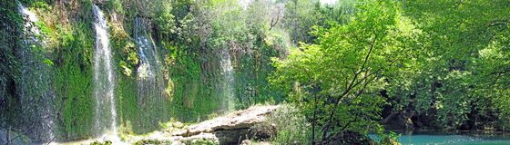 Panorama of waterfall cascade in deep forest Stock Photos
