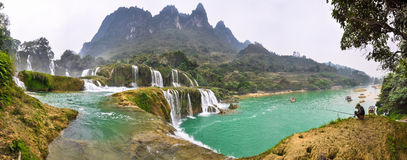 Panorama at the waterfall cascades Bondzhuk, North Vietnam Stock Image