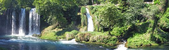 Panorama of waterfall duden turkey. Panorama of waterfall cascade duden turkey Royalty Free Stock Photo