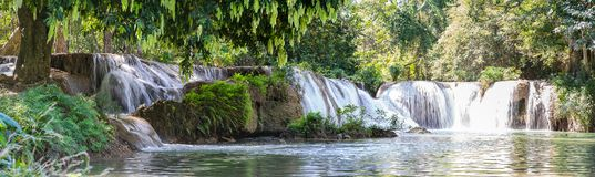 Panorama Chet Sao Noi waterfall in national park Royalty Free Stock Images