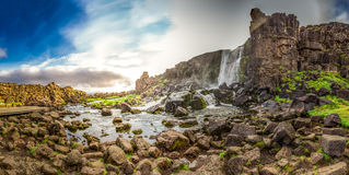 Panorama of waterfall in mountains in Iceland Royalty Free Stock Image
