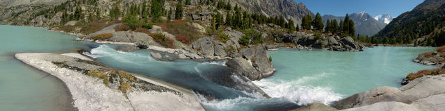 Panorama with a waterfalls Stock Photography