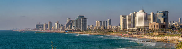 Panorama of the waterfront Tel Aviv Royalty Free Stock Images