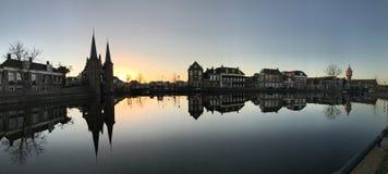 Panorama from the Waterpoort in Sneek. Panorama from sunrise with the Waterpoort in Sneek The Netherlands Royalty Free Stock Image