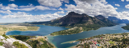 Panorama of the waterton valley Stock Images