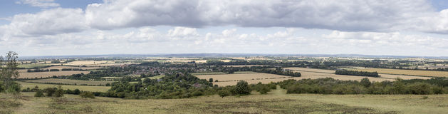 Panorama of Watlington Village. Panorama showing the countryside surrounding the historic Oxfordshire village of Watlington viewed from a nearby Chiltern hills Royalty Free Stock Photo
