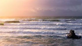 Panorama with waves in Sopelana. At sunset royalty free stock images