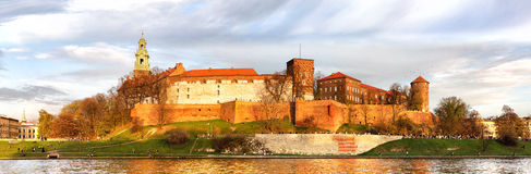Panorama of Wawel castle in Krakow, Poland Royalty Free Stock Image