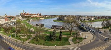 Panorama, Wawel Castle and the river bend Royalty Free Stock Photography