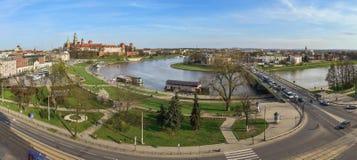 Panorama, Wawel-Kasteel en de rivierkromming Royalty-vrije Stock Fotografie
