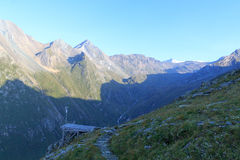 Panorama with weather station and mountain Grossvenediger, Hohe Tauern Alps, Austria Royalty Free Stock Images