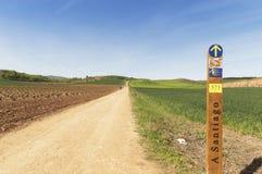 Panorama, weg aan Santiago de Compostela, La Rioja Stock Afbeeldingen