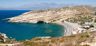 Panorama weg von Matala-Bucht Lizenzfreies Stockfoto