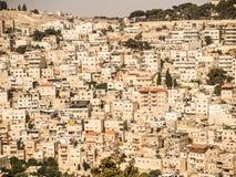 Panorama, welches die alte Stadt von Jerusalem, Israel, includin übersieht Lizenzfreies Stockfoto