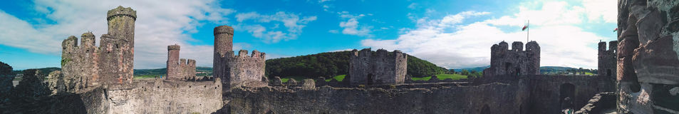 Panorama of a Welsh castle Royalty Free Stock Photos