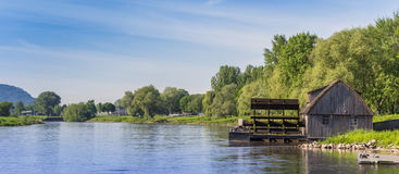 Panorama of the Weser river near Minden Stock Photo