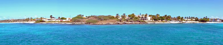 Panorama from the west coast on Aruba island. In the Caribbean Sea Royalty Free Stock Images