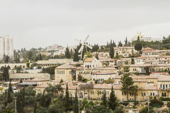 Panorama of West Jerusalem Yemin Moshe neighborhood . Royalty Free Stock Images