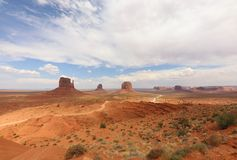 Panorama with West Mitten Butte, East Mitten Butte and Merrick Butte in Monument Valley. Arizona. USA royalty free stock photography