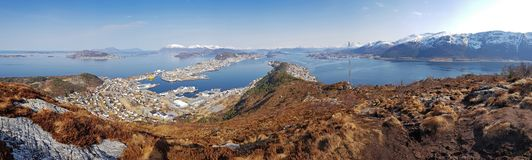 Panorama of west Norway coastline. From the Sukkertoppen hill stock image