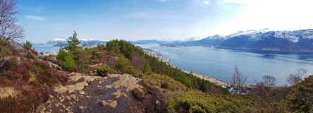 Panorama of west Norway coastline. From the Sukkertoppen hill stock photography