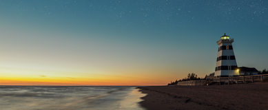 Panorama of West Point Lighthouse at Dusk Stock Photos