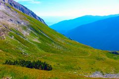 Panorama of  Pirin Mountain with green and blue tones Stock Photography