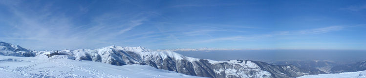Panorama from western alps. A panorama composition of 4 shots at about 2000m over western alps in italy Stock Photography